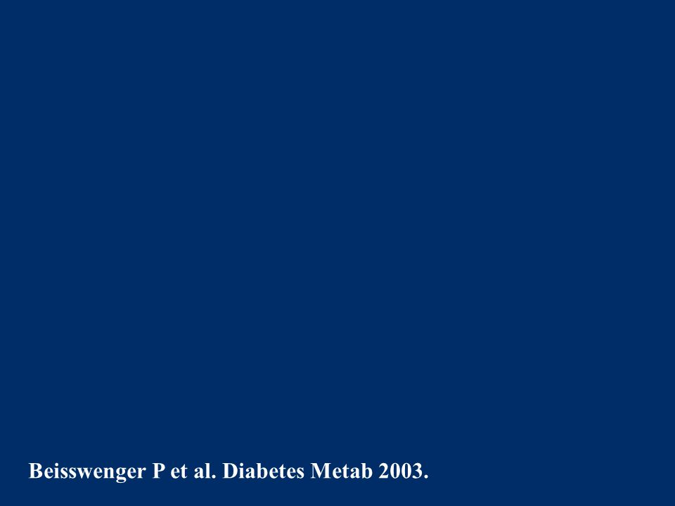 Beisswenger P et al. Diabetes Metab 2003.