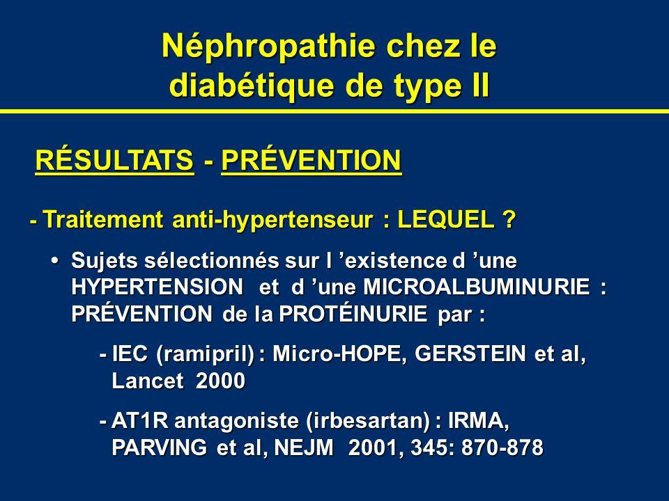 Néphropathie chez le diabétique de type II