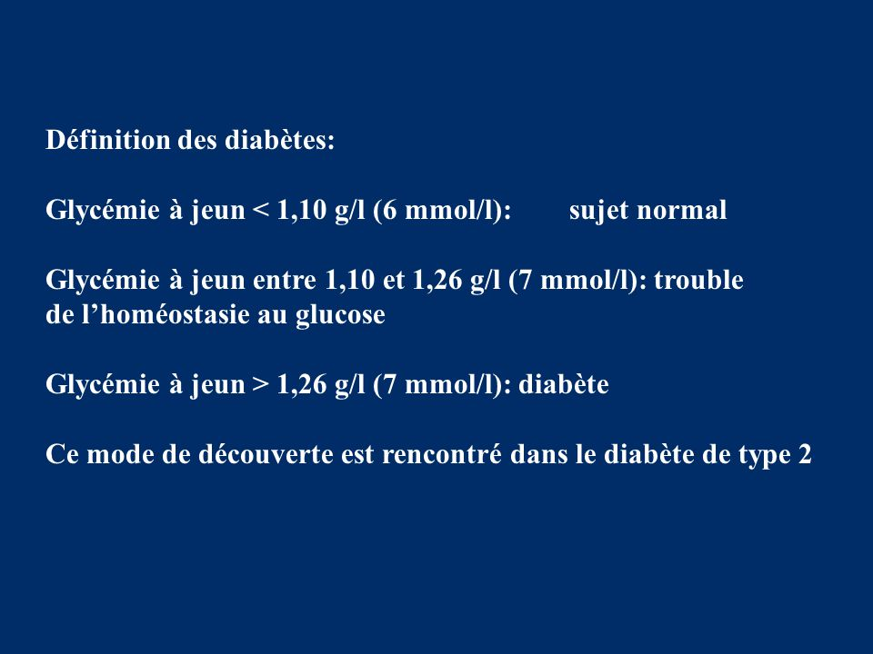 Définition des diabètes: