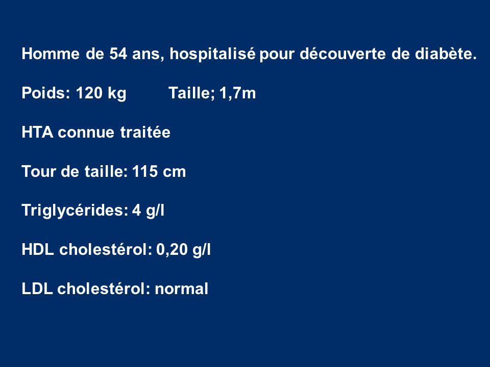 Homme de 54 ans, hospitalisé pour découverte de diabète.