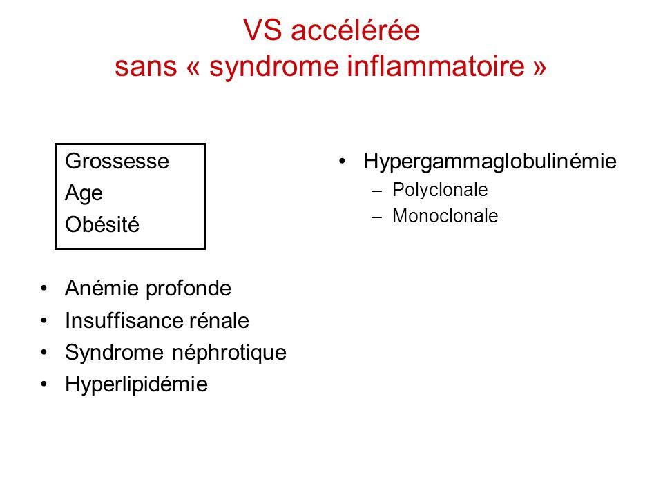VS accélérée sans « syndrome inflammatoire »