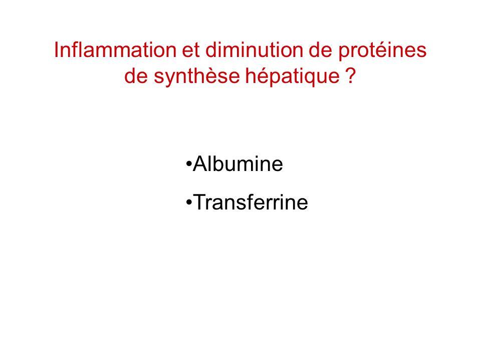 Inflammation et diminution de protéines de synthèse hépatique
