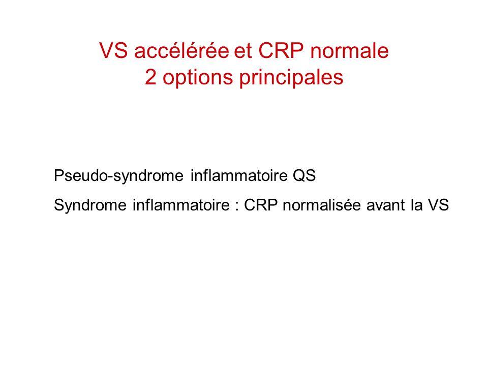 VS accélérée et CRP normale 2 options principales