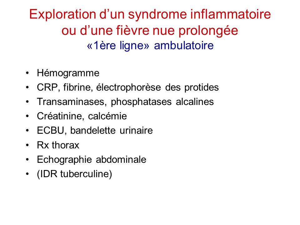 Exploration d'un syndrome inflammatoire ou d'une fièvre nue prolongée «1ère ligne» ambulatoire