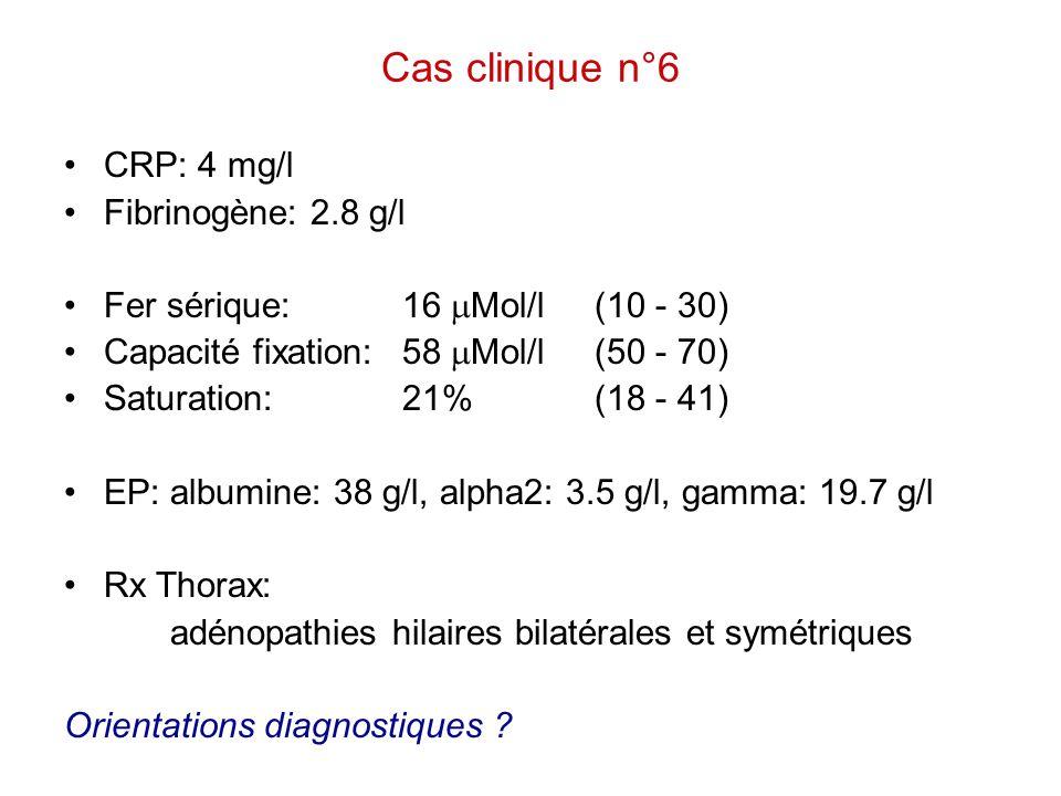 Cas clinique n°6 CRP: 4 mg/l Fibrinogène: 2.8 g/l