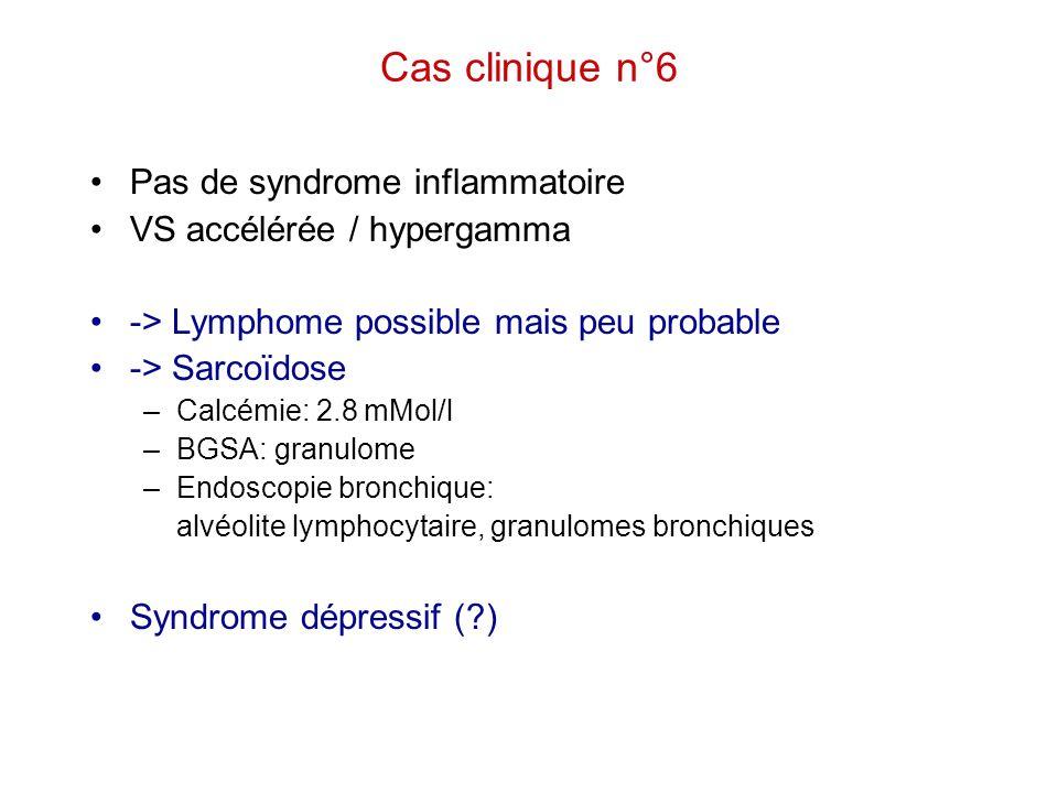 Cas clinique n°6 Pas de syndrome inflammatoire