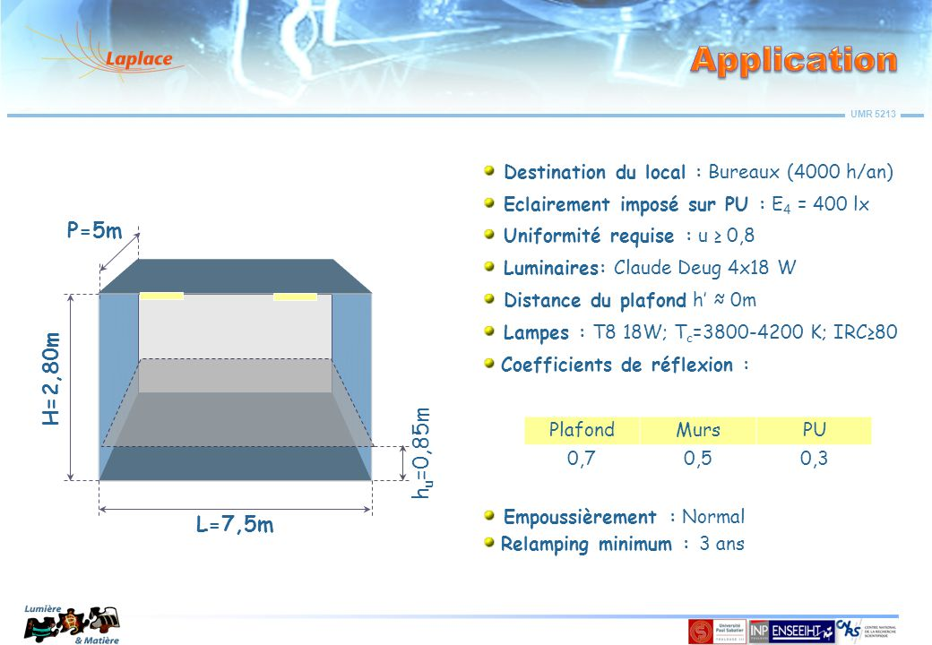 Application P=5m H=2,80m hu=0,85m L=7,5m