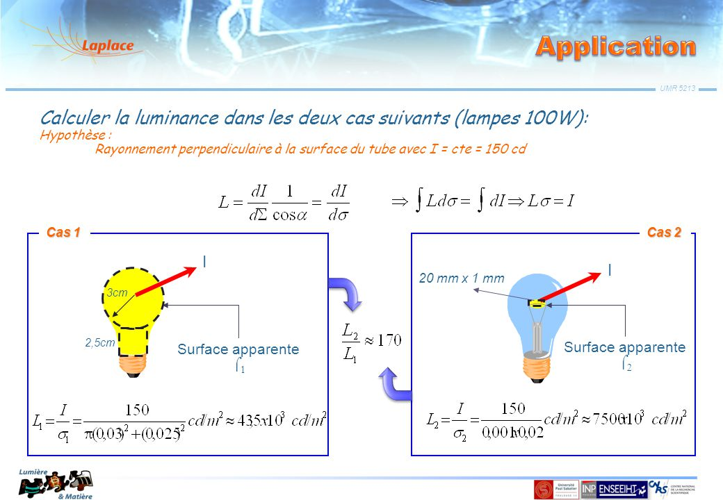 Application Calculer la luminance dans les deux cas suivants (lampes 100W): Hypothèse :