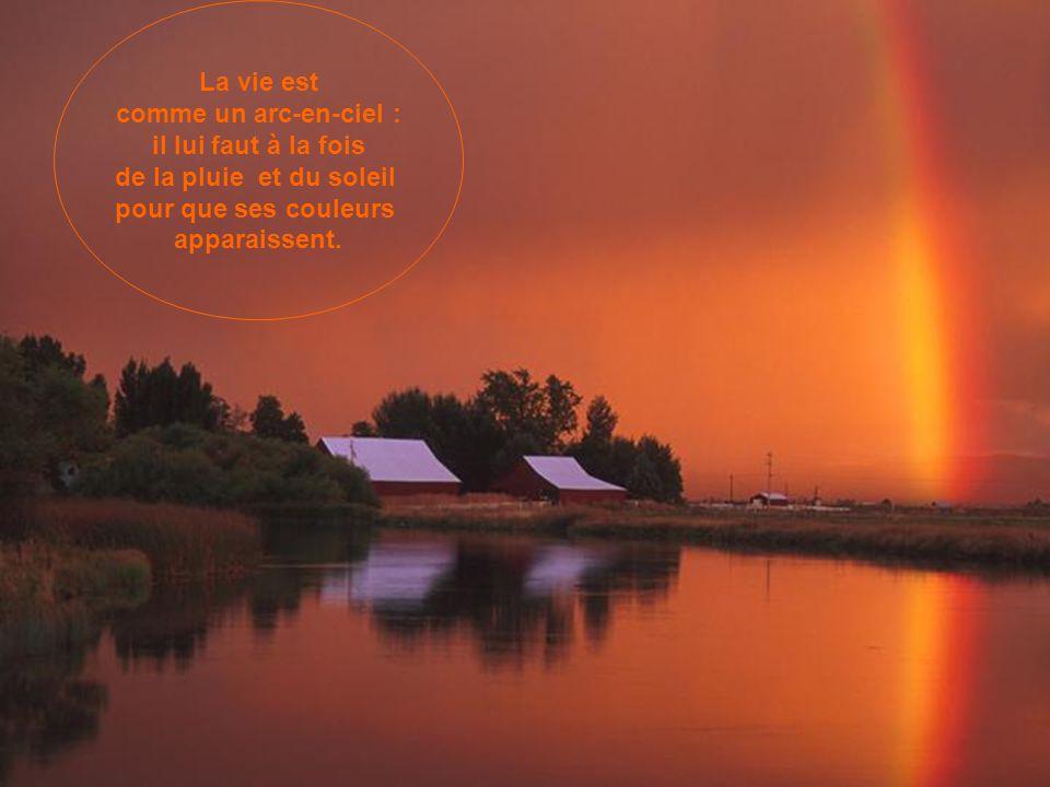 La vie est comme un arc-en-ciel : il lui faut à la fois. de la pluie et du soleil. pour que ses couleurs.