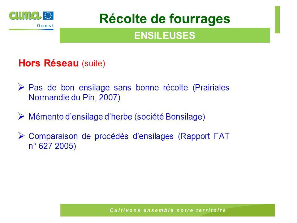 Récolte de fourrages ENSILEUSES Hors Réseau (suite)