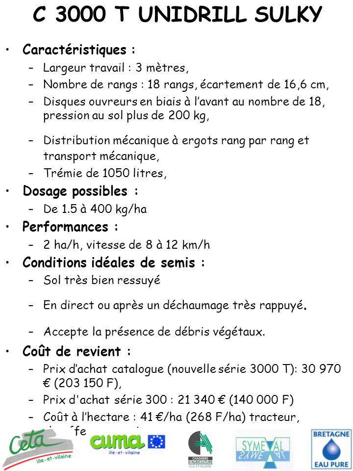 C 3000 T UNIDRILL SULKY Caractéristiques : Dosage possibles :