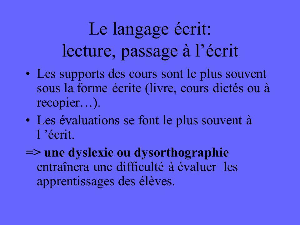 Le langage écrit: lecture, passage à l'écrit