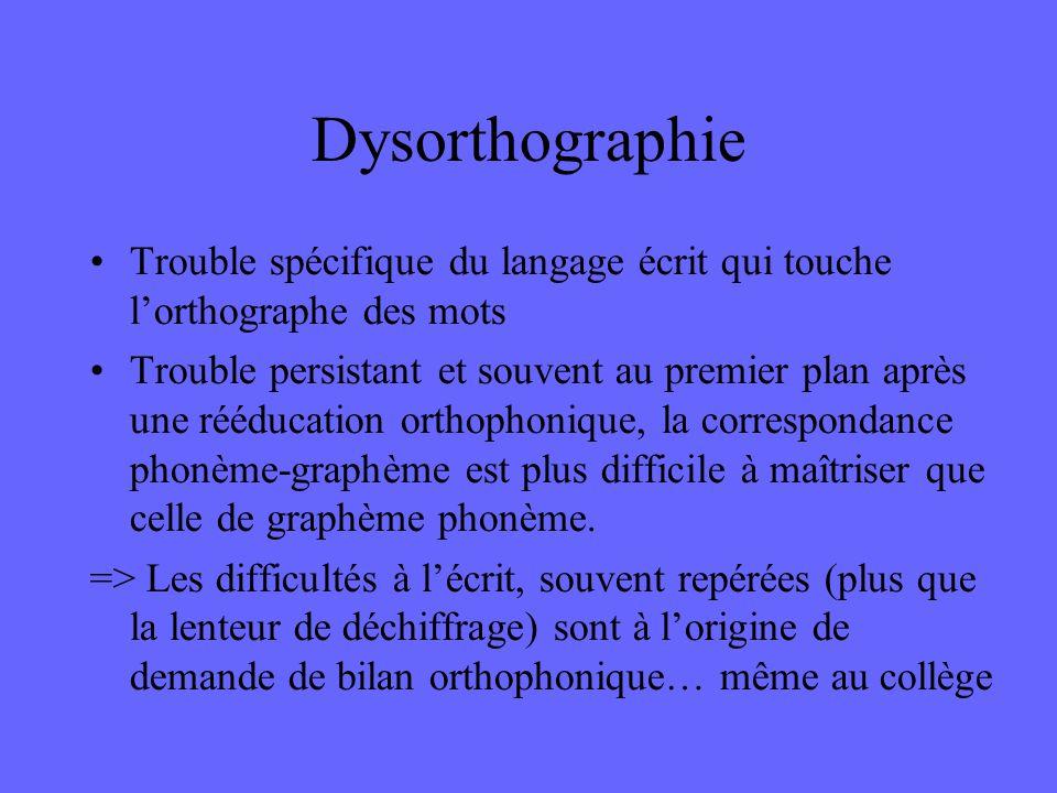 Dysorthographie Trouble spécifique du langage écrit qui touche l'orthographe des mots.
