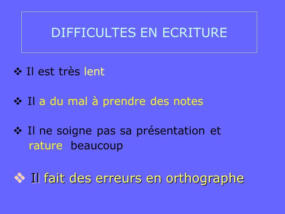 DIFFICULTES EN ECRITURE