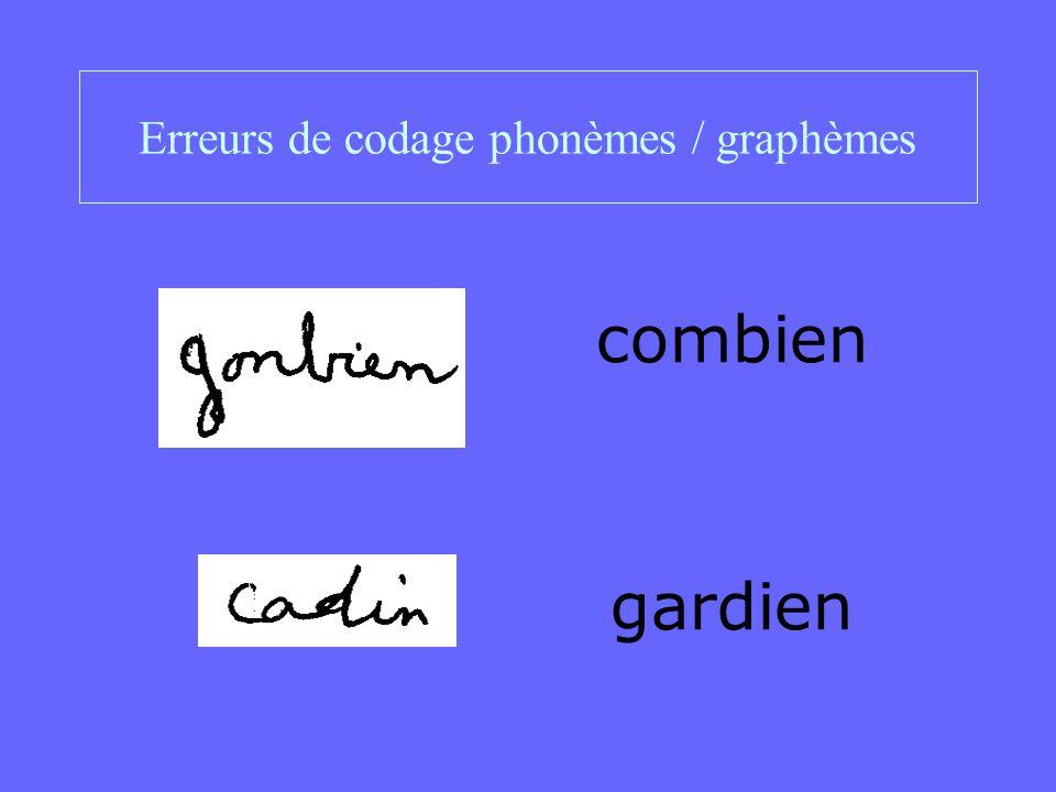 Erreurs de codage phonèmes / graphèmes