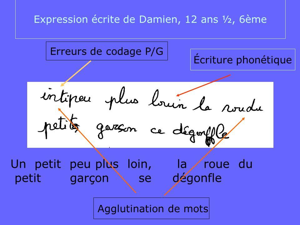 Expression écrite de Damien, 12 ans ½, 6ème