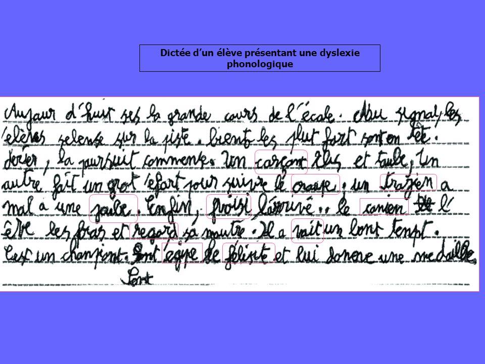 Dictée d'un élève présentant une dyslexie phonologique