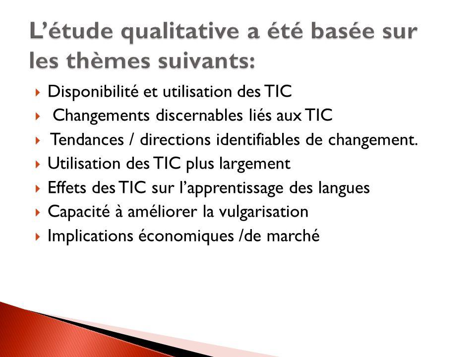 L'étude qualitative a été basée sur les thèmes suivants: