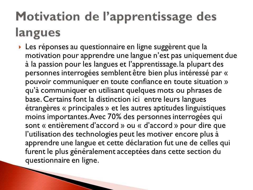 Motivation de l'apprentissage des langues