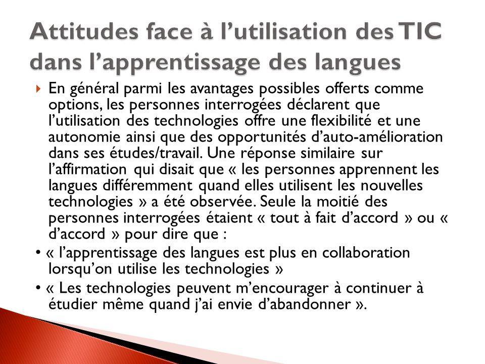 Attitudes face à l'utilisation des TIC dans l'apprentissage des langues