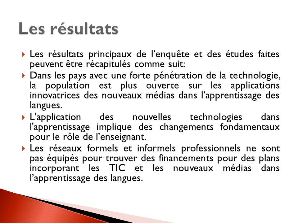 Les résultats Les résultats principaux de l'enquête et des études faites peuvent être récapitulés comme suit: