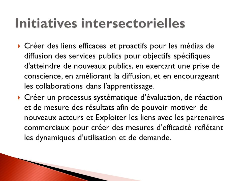 Initiatives intersectorielles
