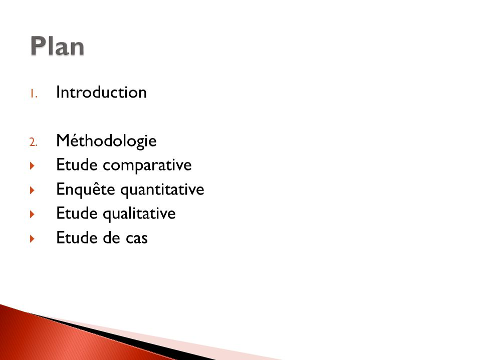 Plan Introduction Méthodologie Etude comparative Enquête quantitative