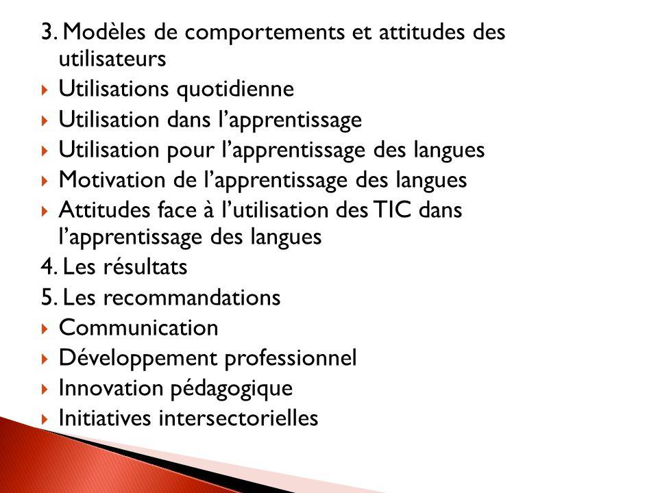 3. Modèles de comportements et attitudes des utilisateurs