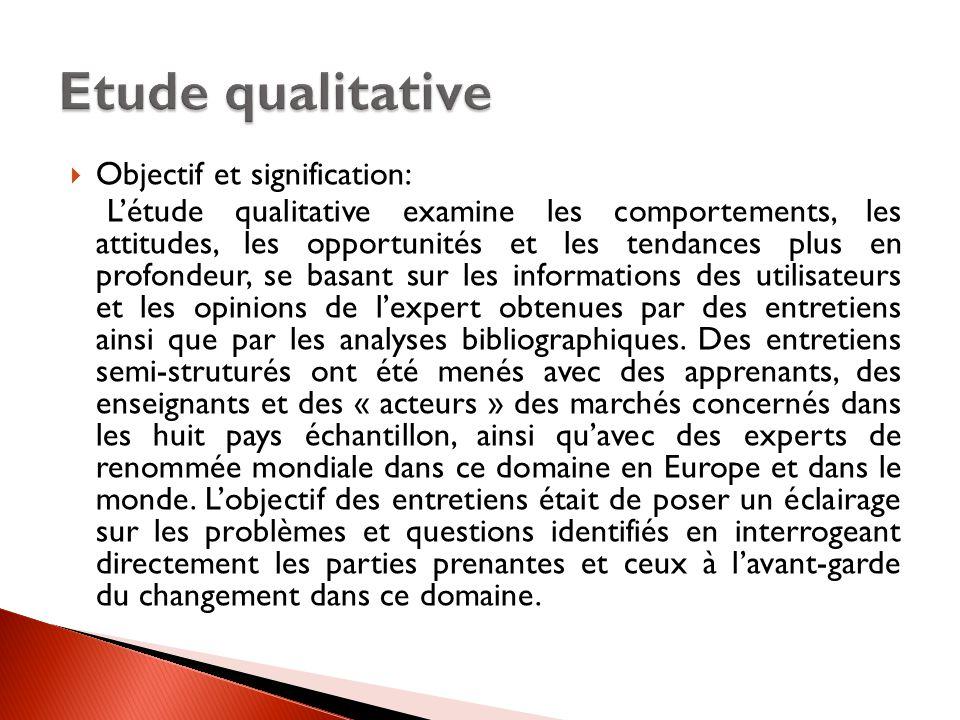 Etude qualitative Objectif et signification: