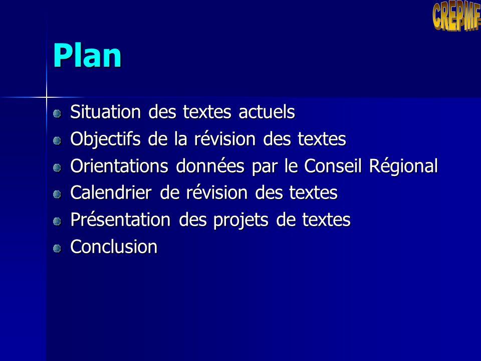 Plan CREPMF Situation des textes actuels