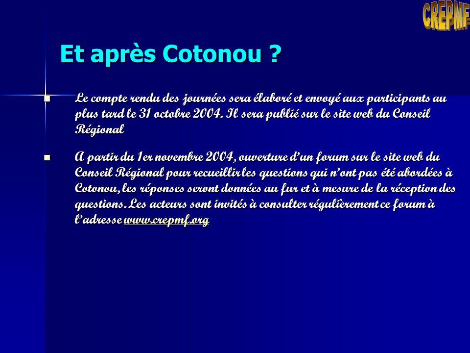 CREPMF Et après Cotonou