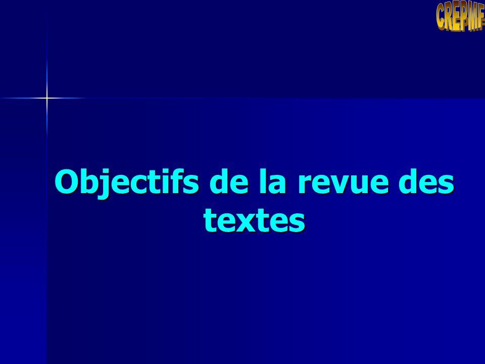 Objectifs de la revue des textes