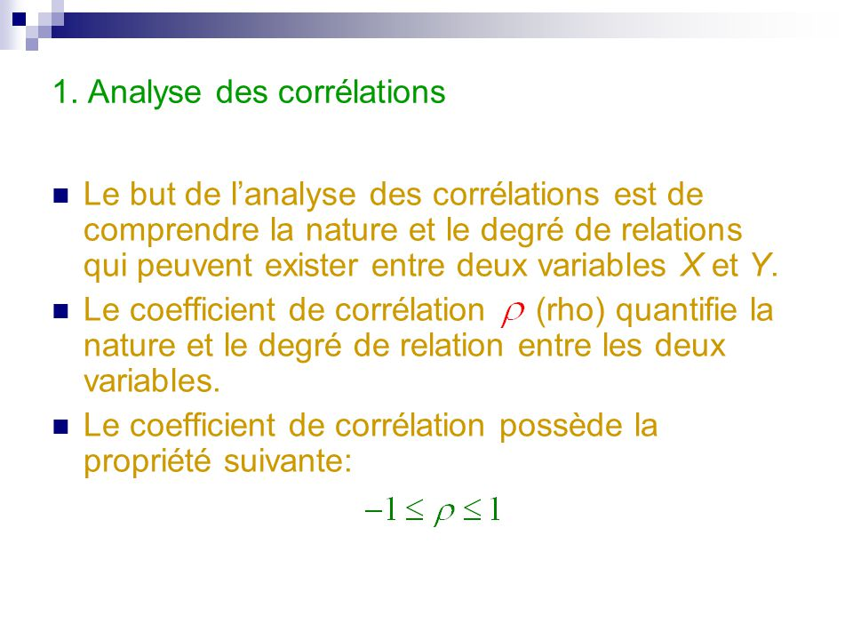 1. Analyse des corrélations