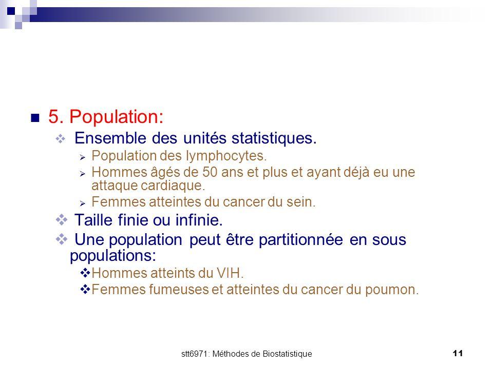 stt6971: Méthodes de Biostatistique
