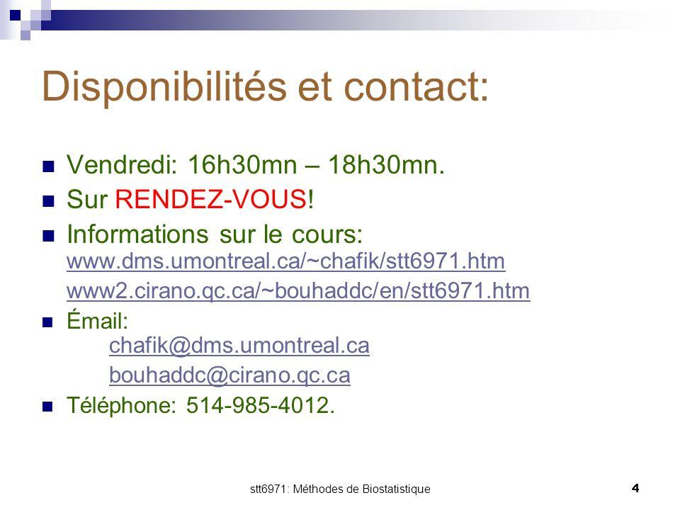 Disponibilités et contact: