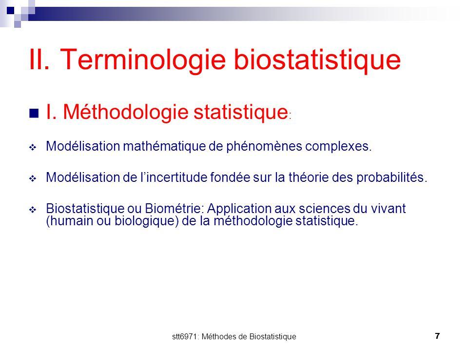 II. Terminologie biostatistique