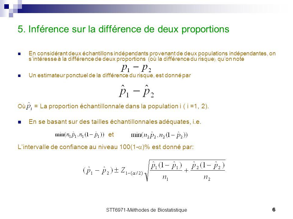 5. Inférence sur la différence de deux proportions
