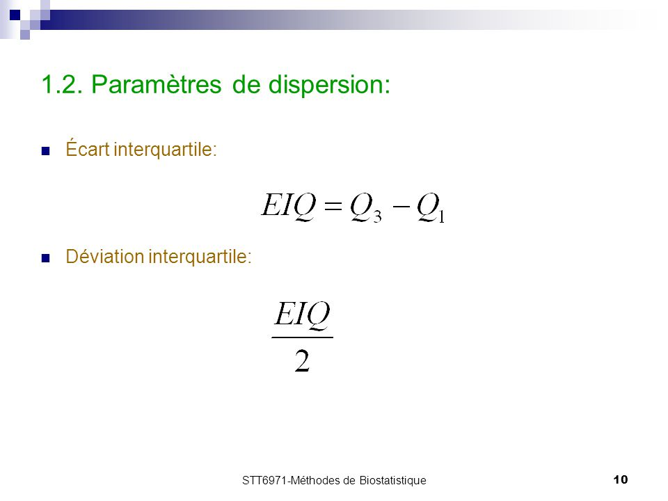 1.2. Paramètres de dispersion: