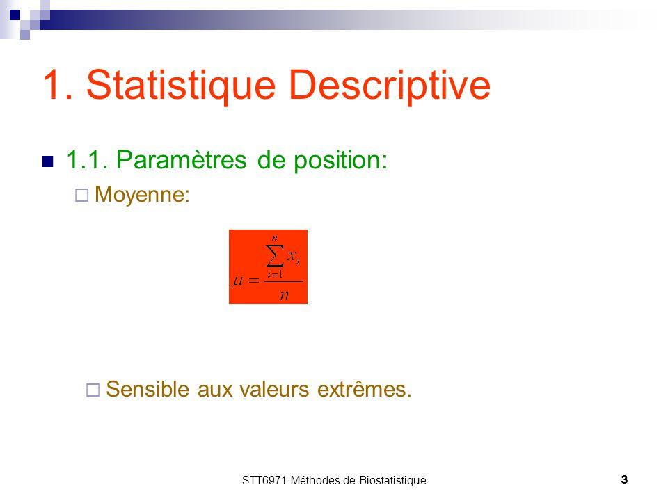 1. Statistique Descriptive