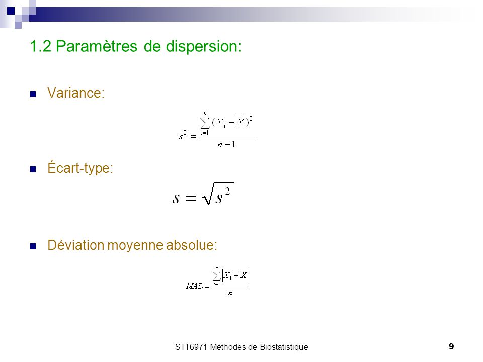 1.2 Paramètres de dispersion: