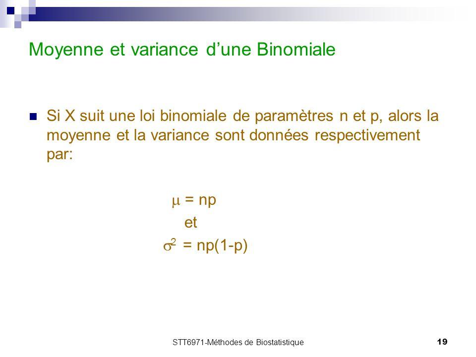 Moyenne et variance d'une Binomiale
