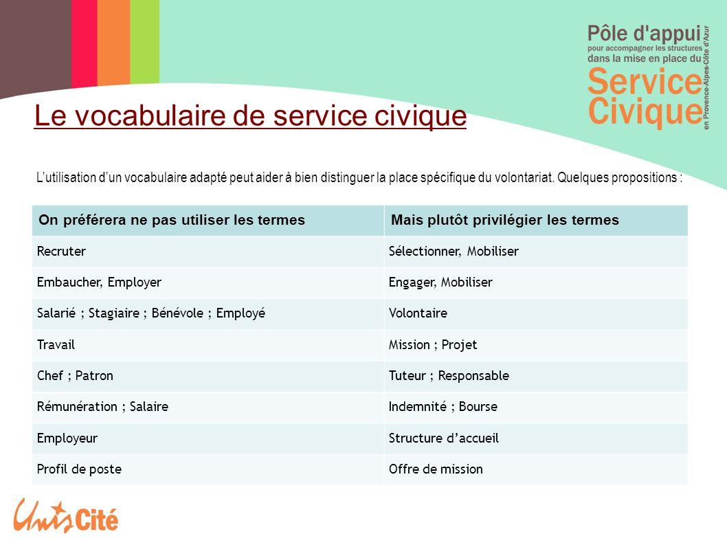 Le vocabulaire de service civique
