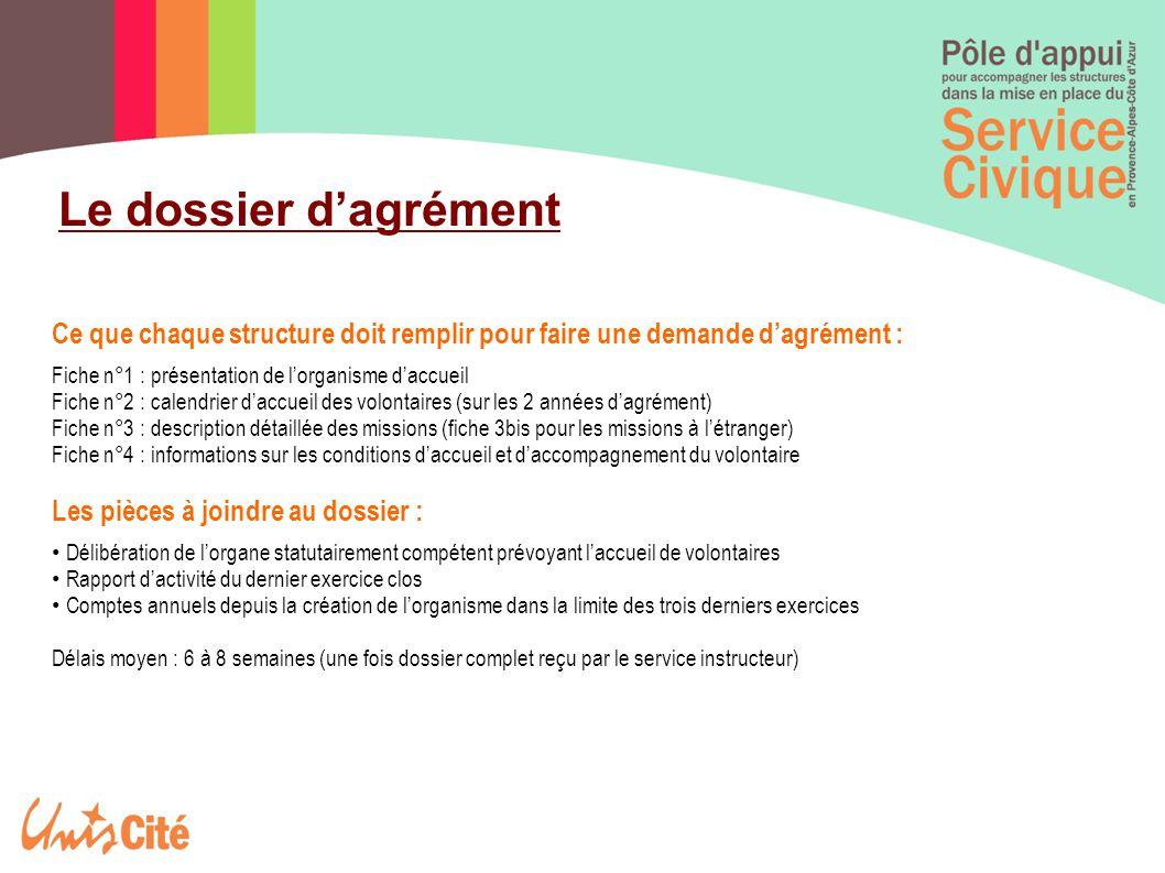 Le dossier d'agrément Ce que chaque structure doit remplir pour faire une demande d'agrément : Fiche n°1 : présentation de l'organisme d'accueil.