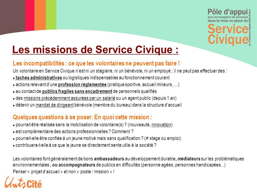 Les missions de Service Civique :
