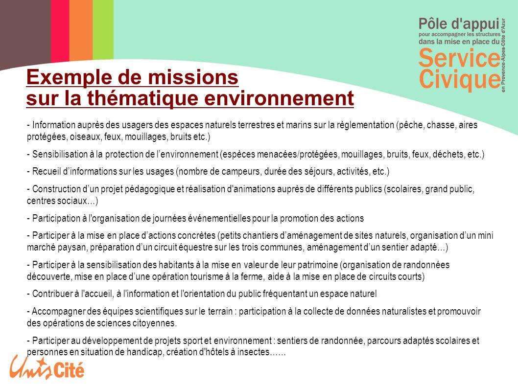 Exemple de missions sur la thématique environnement