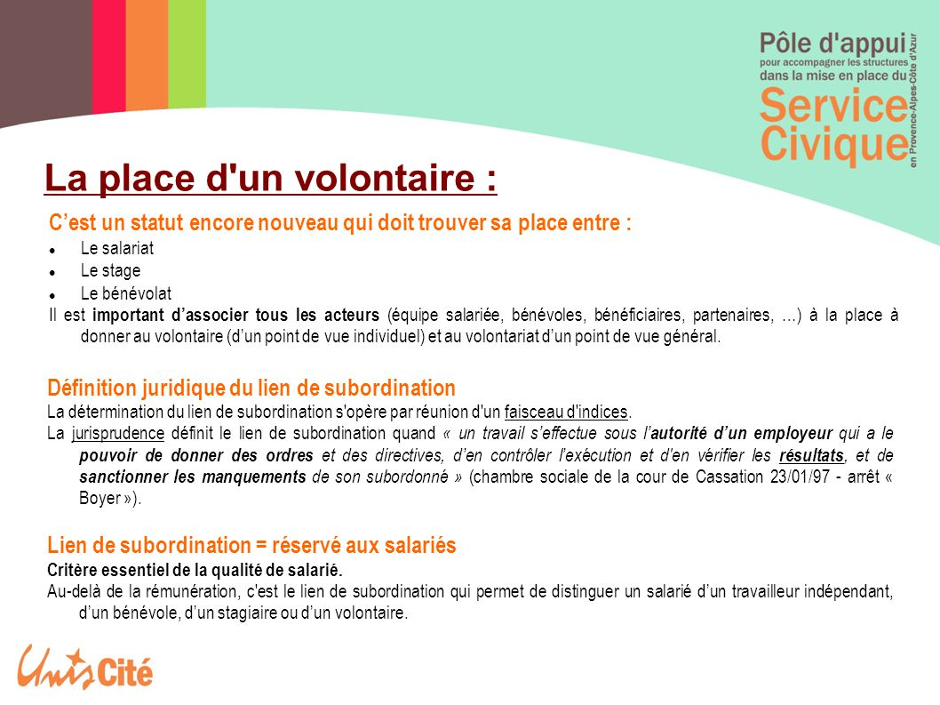 La place d un volontaire :
