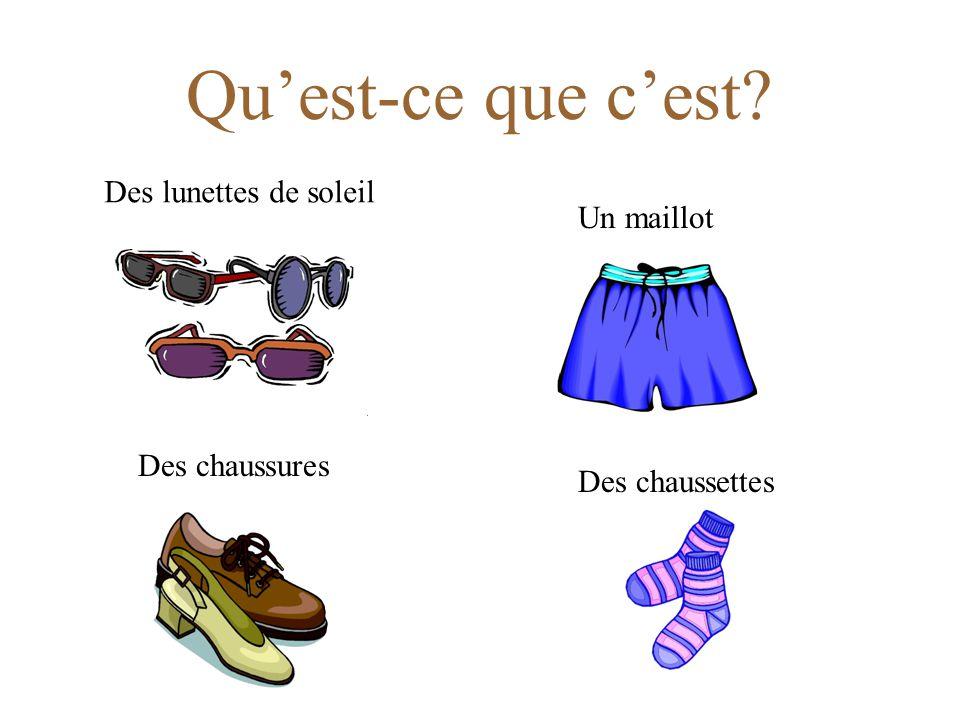 Qu'est-ce que c'est Des lunettes de soleil Un maillot Des chaussures