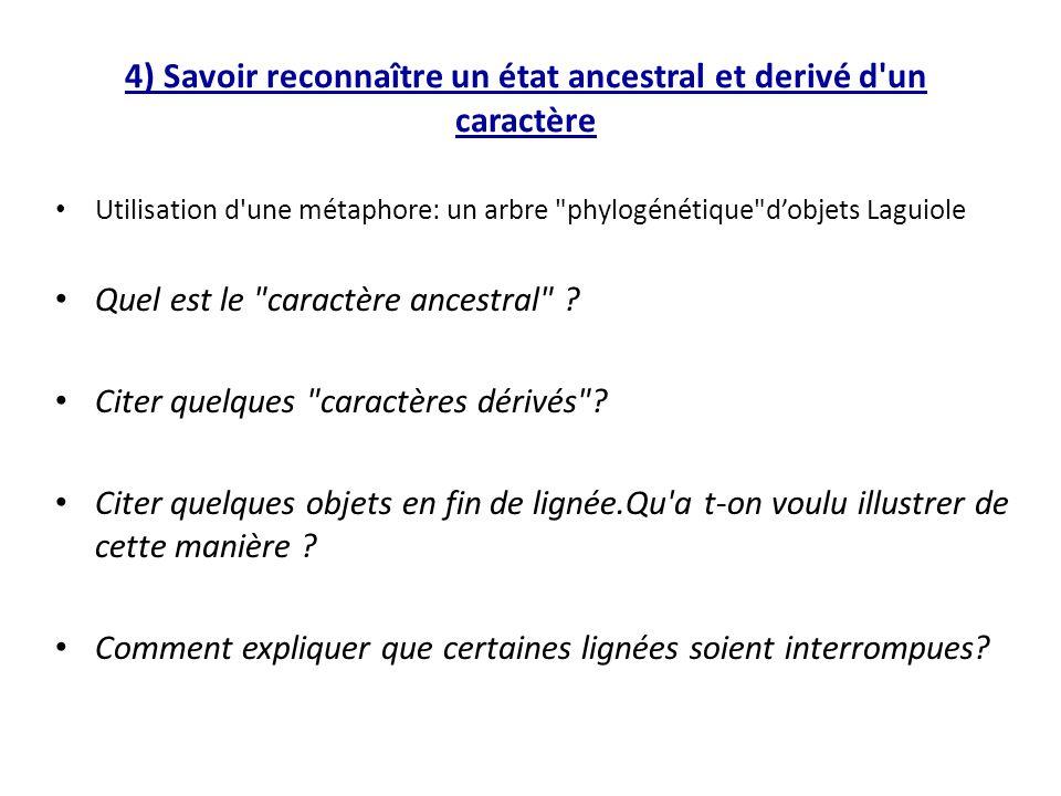 4) Savoir reconnaître un état ancestral et derivé d un caractère