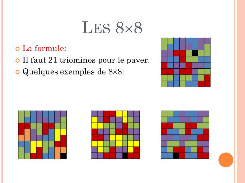 Les 88 La formule: Il faut 21 triominos pour le paver.