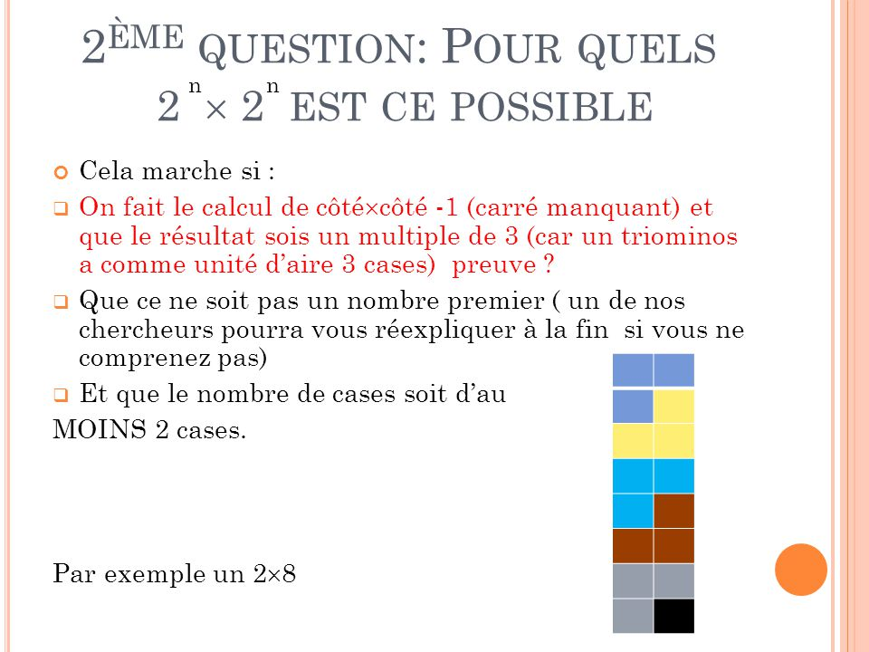 2ème question: Pour quels 2  2 est ce possible